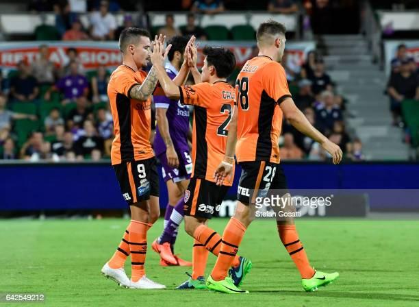Jamie Maclaren of the Roar celebrates scoring a goal during the round 20 ALeague match between Perth Glory and Brisbane Roar at nib Stadium on...