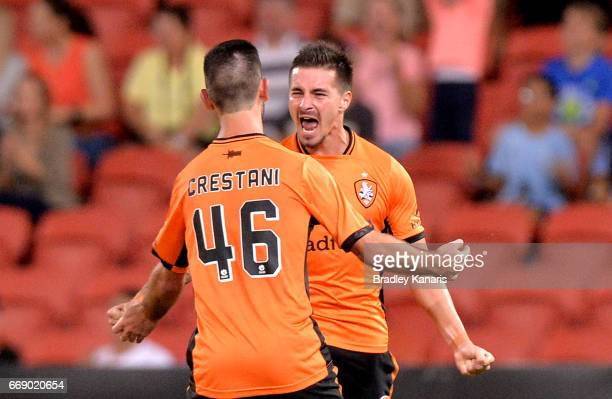 Jamie Maclaren of the Roar celebrates scoring a goal during the round 27 ALeague match between the Brisbane Roar and the Wellington Phoenix at...
