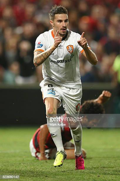 Jamie MaClaren of the Roar celebrates scoring a goal during the ALeague Semi Final match between the Western Sydney Wanderers and the Brisbane Roar...