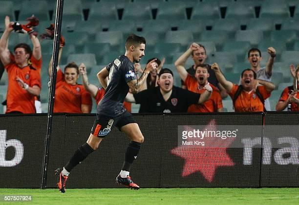 Jamie Maclaren of the Roar celebrates scoring their third goal during the round 17 ALeague match between Sydney FC and the Brisbane Roar at Allianz...
