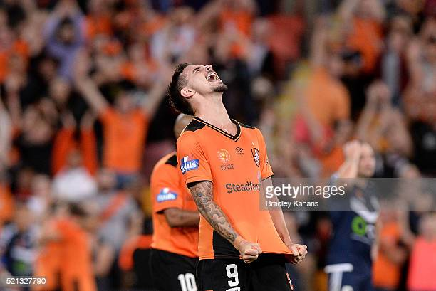 Jamie Maclaren of the Roar celebrates victory after the ALeague Elimination Final match between the Brisbane Roar and Melbourne Victory at Suncorp...