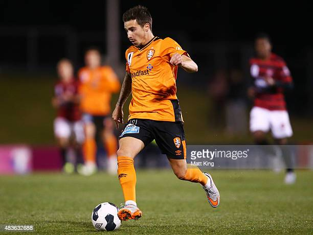 Jamie Maclaren of the Roar controls the ball during the FFA Cup match between Western Sydney Wanderers and Brisbane Roar at Pepper Stadium on August...