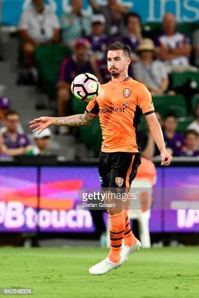 Jamie Maclaren of the Roar controls the ball during the round 20 ALeague match between Perth Glory and Brisbane Roar at nib Stadium on February 18...