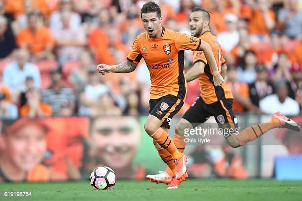 Jamie Maclaren of the Roar controls the ball during the round four ALeague match between the Brisbane Roar and Perth Glory at Suncorp Stadium on...