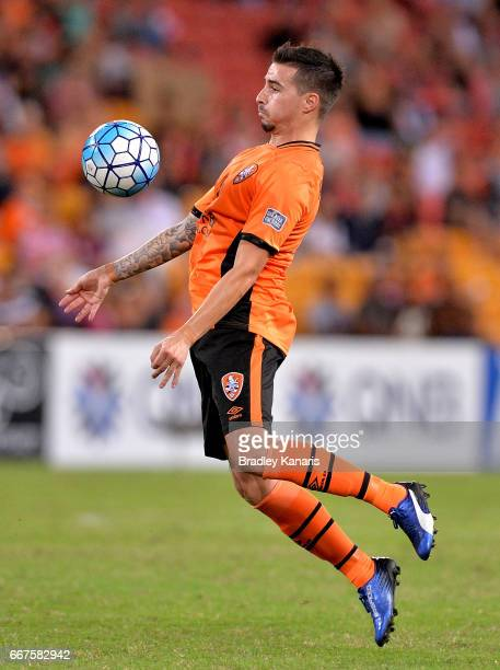 Jamie Maclaren of the Roar in action during the AFC Asian Champions League Group Stage match between the Brisbane Roar and Kashima Antlers at Suncorp...