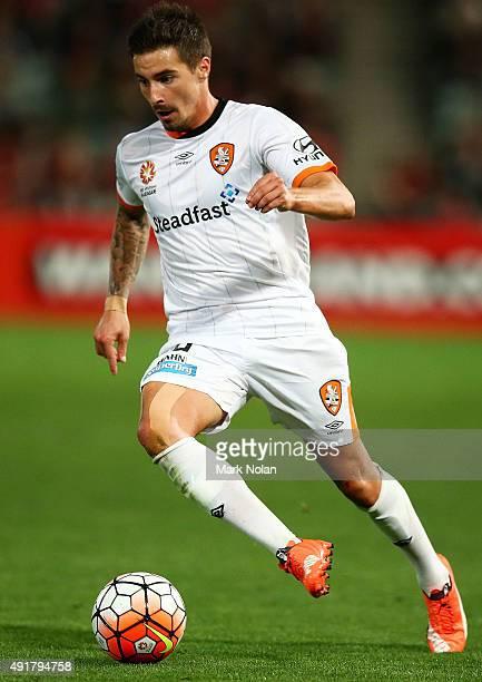 Jamie Maclaren of the Roar in action during the round one ALeague match between the Western Sydney Wanderers and the Brisbane Roar at Pirtek Stadium...