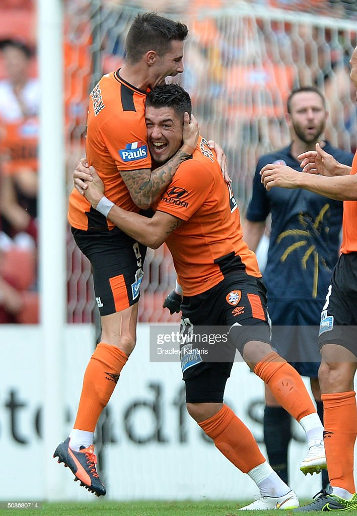 <a gi-track='captionPersonalityLinkClicked' href=/galleries/search?phrase=Jamie+Maclaren&family=editorial&specificpeople=10952889 ng-click='$event.stopPropagation()'>Jamie Maclaren</a> of the Roar is congratulated by Dimitri Petratos after scoring a goal during the round 18 A-League match between the Brisbane Roar and Central Coast Mariners at Suncorp Stadium on February 6, 2016 in Brisbane, Australia.