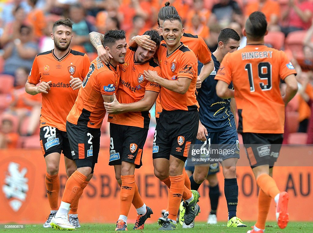 <a gi-track='captionPersonalityLinkClicked' href=/galleries/search?phrase=Jamie+Maclaren&family=editorial&specificpeople=10952889 ng-click='$event.stopPropagation()'>Jamie Maclaren</a> of the Roar is congratulated by team mates after scoring a goal during the round 18 A-League match between the Brisbane Roar and Central Coast Mariners at Suncorp Stadium on February 6, 2016 in Brisbane, Australia.