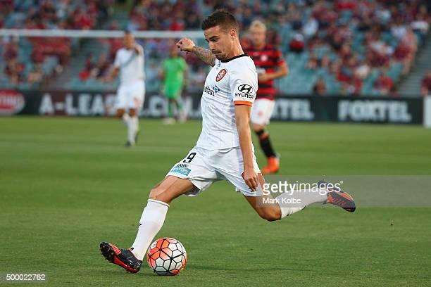 Jamie Maclaren of the Roar passes during the round nine ALeague match between the Western Sydney Wanderers and the Brisbane Roar at Pirtek Stadium on...