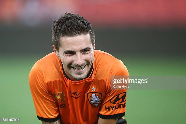 Jamie Maclaren of the Roar smiles after winning the round four ALeague match between the Brisbane Roar and Perth Glory at Suncorp Stadium on October...