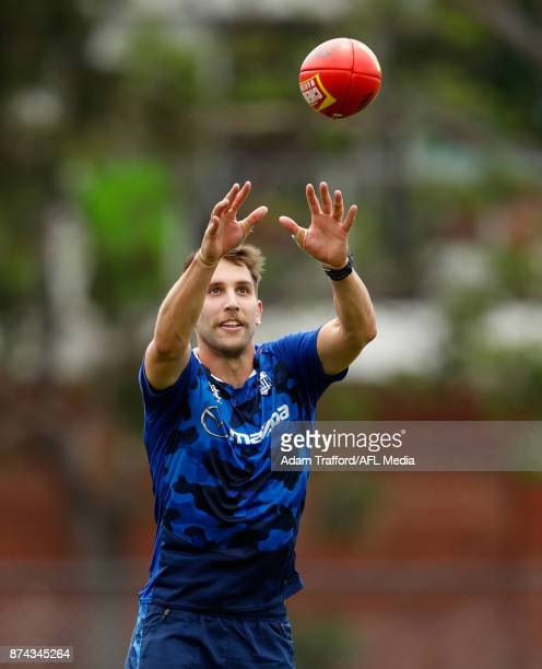Jamie Macmillan of the Kangaroos marks the ball during the North Melbourne Kangaroos training session at Arden St on November 15 2017 in Melbourne...