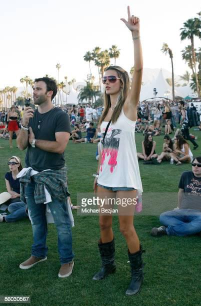 Jamie Mazur and model Alessandra Ambrosio at the 2009 Coachella Valley Music Arts Festival at the Empire Polo Club on April 18 2009 in Indio...