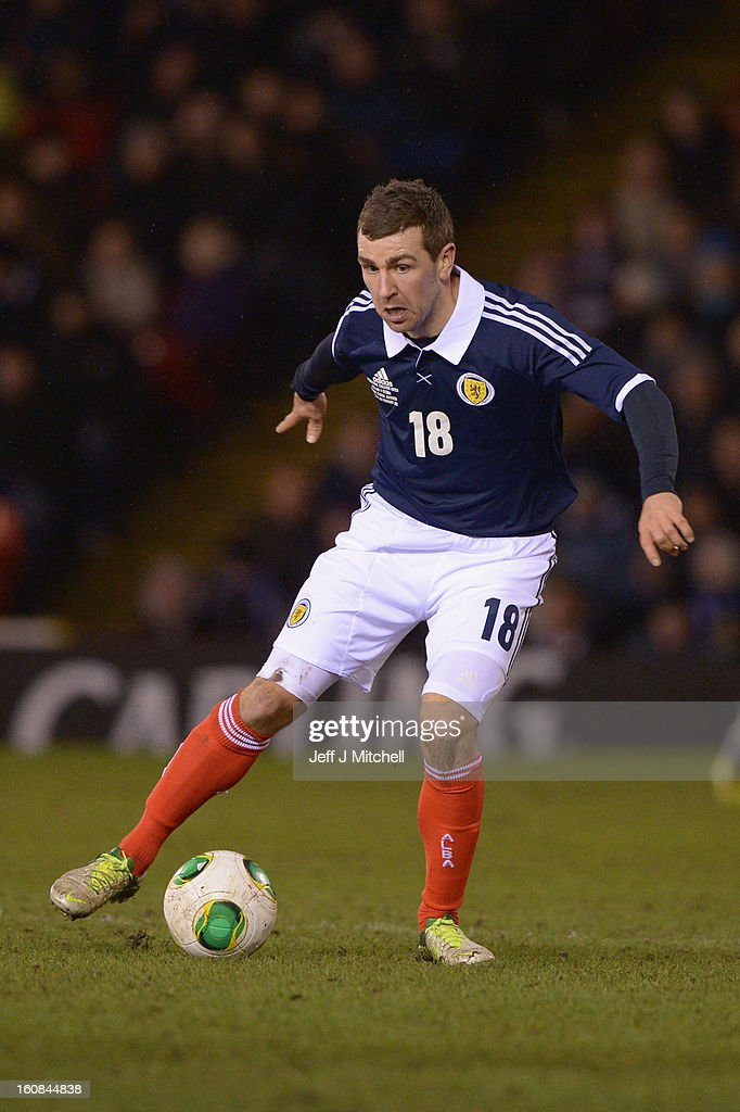 Jamie McArthur of Scotland in action during the international friendly match between Scotland and Estonia at Pittodrie Stadium on February 6, 2013 in Aberdeen, Scotland.