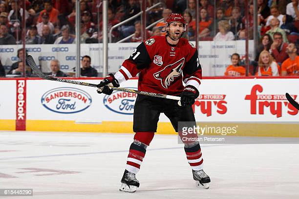 Jamie McBain of the Arizona Coyotes in action during the NHL game against Philadelphia Flyers at Gila River Arena on October 15 2016 in Glendale...