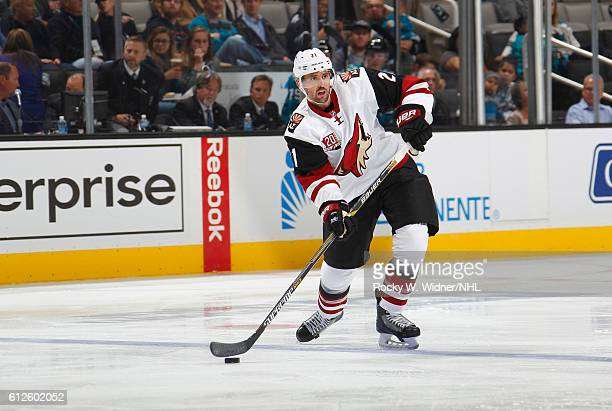 Jamie McBain of the Arizona Coyotes passes the puck against the San Jose Sharks at SAP Center on September 30 2016 in San Jose California