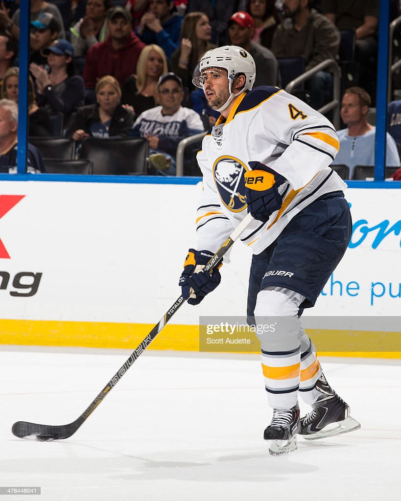 Jamie McBain of the Buffalo Sabres skates during the game against the Tampa Bay Lightning at the Tampa Bay Times Forum on March 6 2014 in Tampa...