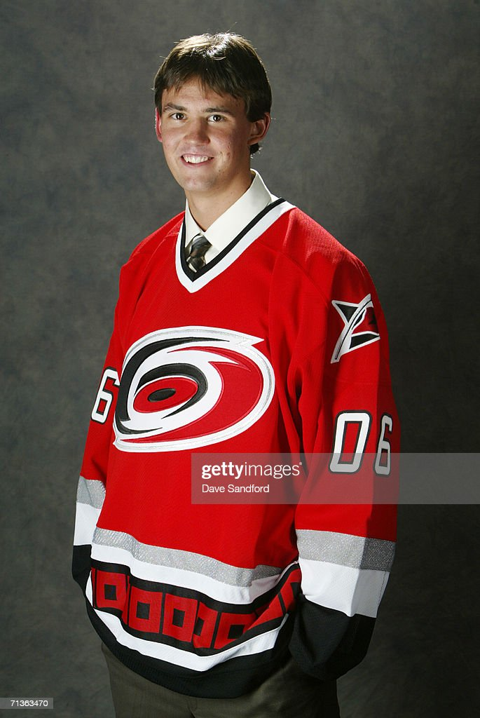 Jamie McBain of the Carolina Hurricanes poses for a portrait backstage at the 2006 NHL Draft held at General Motors Place on June 24 2006 in...