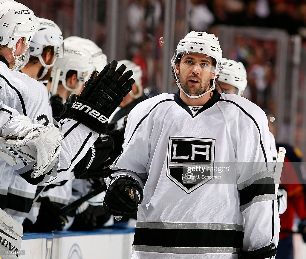 Jamie McBain of the Los Angeles Kings celebrates his goal with teammates against the Florida Panthers at the BBT Center on February 5 2015 in Sunrise...