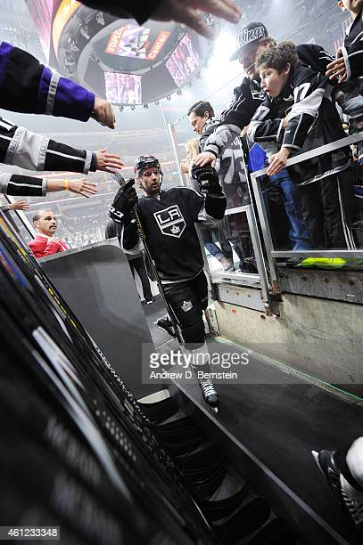 Jamie McBain of the Los Angeles Kings greets fans before a game against the New York Rangers at STAPLES Center on January 08 2015 in Los Angeles...