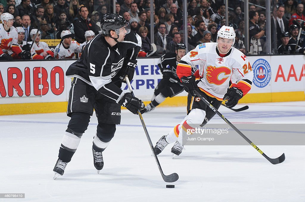 Jamie McBain of the Los Angeles Kings handles the puck against Jiri Hudler of the Calgary Flames at STAPLES Center on December 22 2014 in Los Angeles...