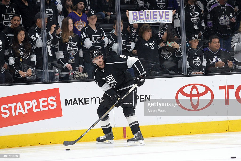 Jamie McBain of the Los Angeles Kings handles the puck before a game against the Tampa Bay Lightning at STAPLES Center on February 16 2015 in Los...