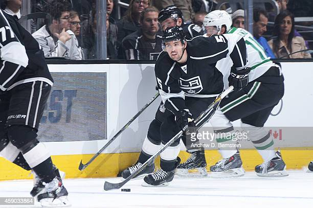 Jamie McBain of the Los Angeles Kings handles the puck during a game against the Dallas Stars at STAPLES Center on November 13 2014 in Los Angeles...