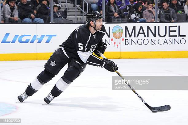Jamie McBain of the Los Angeles Kings handles the puck during a game against the Nashville Predators at STAPLES Center on January 03 2015 in Los...
