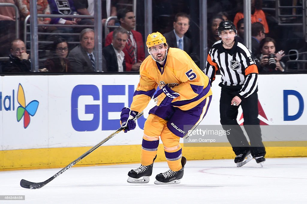 Jamie McBain of the Los Angeles Kings handles the puck during a game against the Detroit Red Wings at STAPLES Center on February 24 2015 in Los...