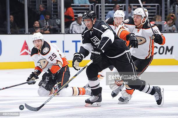 Jamie McBain of the Los Angeles Kings handles the puck during a game against the Anaheim Ducks at STAPLES Center on September 29 2015 in Los Angeles...