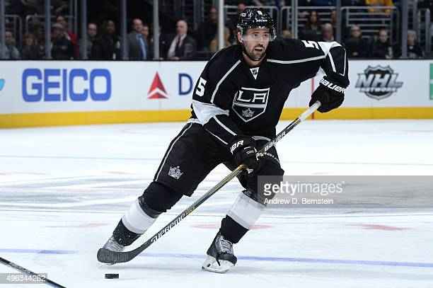 Jamie McBain of the Los Angeles Kings handles the puck during a game against the Columbus Blue Jackets at STAPLES Center on November 05 2015 in Los...