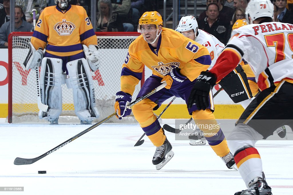 Jamie McBain of the Los Angeles Kings handles the puck during a game against the Calgary Flames at STAPLES Center on February 23 2016 in Los Angeles...