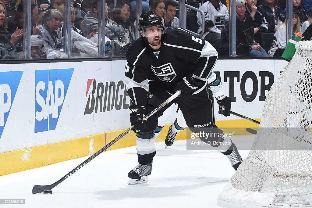 Jamie McBain of the Los Angeles Kings handles the puck in Game Five of the Western Conference First Round against the San Jose Sharks during the 2016...