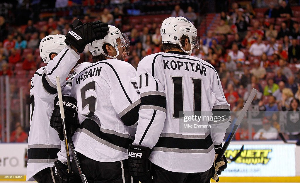 Jamie McBain of the Los Angeles Kings is congratulated after a goal during a game against the Florida Panthers at BBT Center on February 5 2015 in...