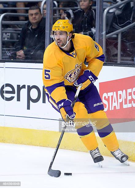 Jamie McBain of the Los Angeles Kings looks to pass during the game against the Detroit Red Wings at Staples Center on February 24 2015 in Los...