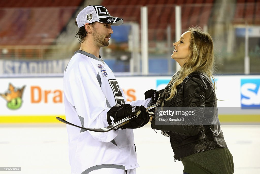 Jamie McBain of the Los Angeles Kings participates in the family skate during the practice day for the 2015 Coors Light Stadium Series game between...