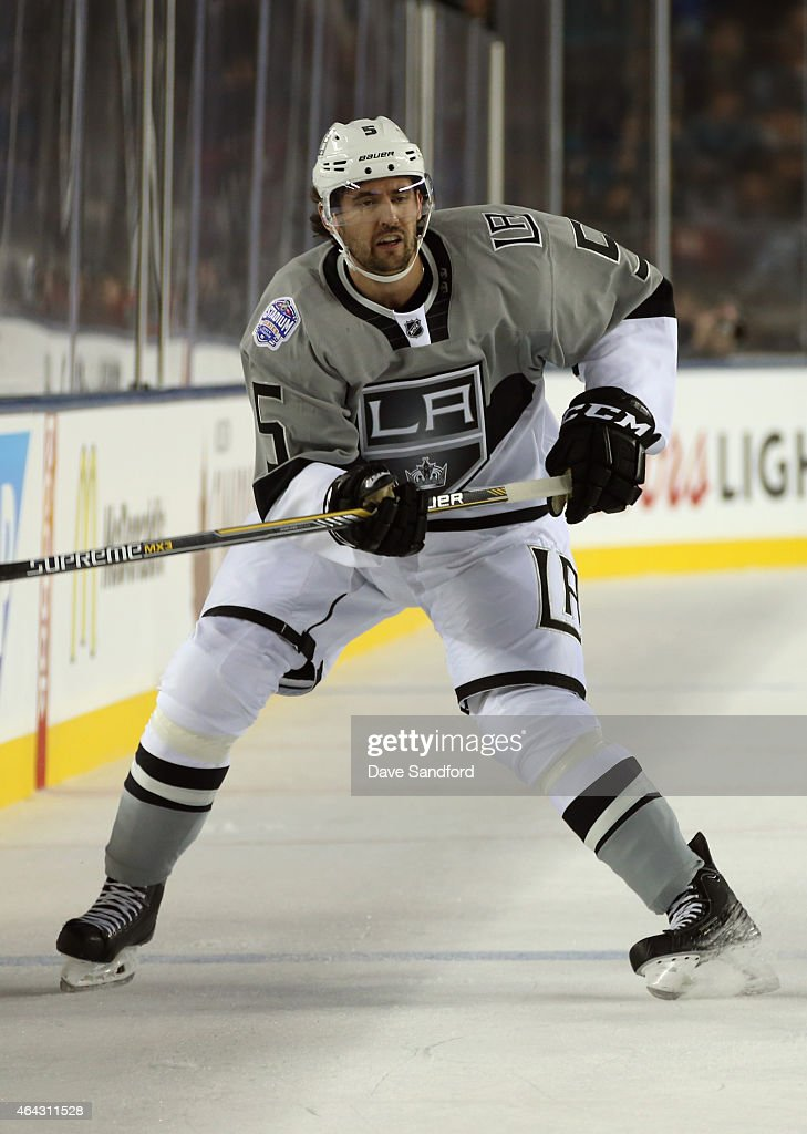 Jamie McBain of the Los Angeles Kings plays against the San Jose Sharks during the 2015 Coors Light NHL Stadium Series game at Levi's Stadium on...