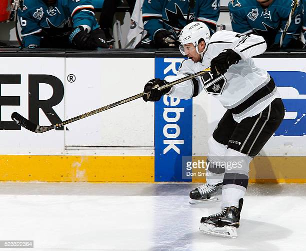 Jamie McBain of the Los Angeles Kings shoots the puck into the zone against the San Jose Sharks during the Western Conference First Round during the...