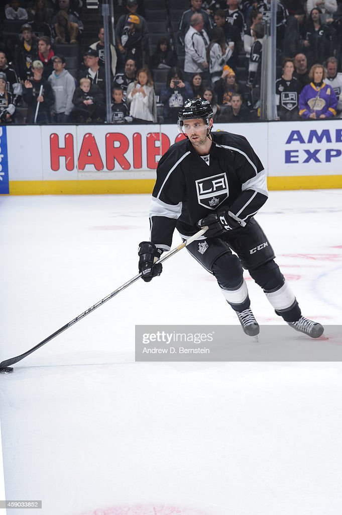 Jamie McBain of the Los Angeles Kings skates on ice before a game against the Dallas Stars at STAPLES Center on November 13 2014 in Los Angeles...