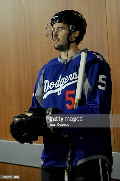 Jamie McBain of the Los Angeles Kings stands outside of the locker room before a game against the Florida Panthers at STAPLES Center on November 18...