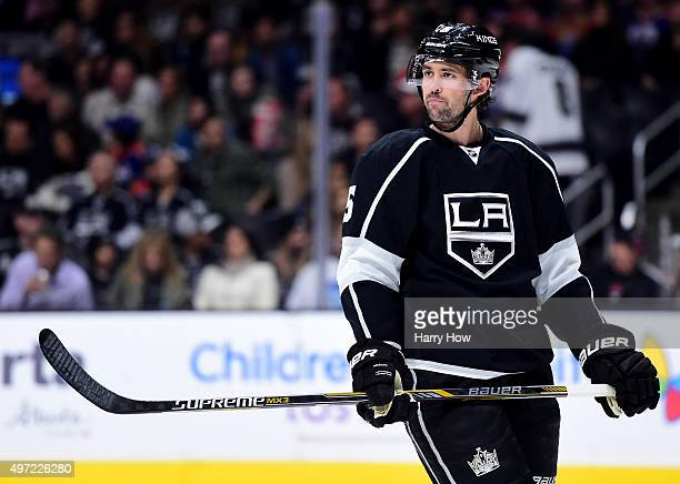 Jamie McBain of the Los Angeles Kings waits for a faceoff against the Edmonton Oilers at Staples Center on November 14 2015 in Los Angeles California
