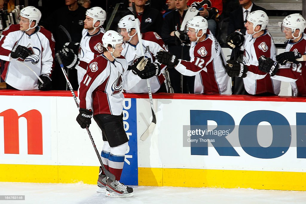 <a gi-track='captionPersonalityLinkClicked' href=/galleries/search?phrase=Jamie+McGinn&family=editorial&specificpeople=537964 ng-click='$event.stopPropagation()'>Jamie McGinn</a> #11 and teammates of the Colorado Avalanche celebrate a goal against the Calgary Flames on March 27, 2013 at the Scotiabank Saddledome in Calgary, Alberta, Canada.