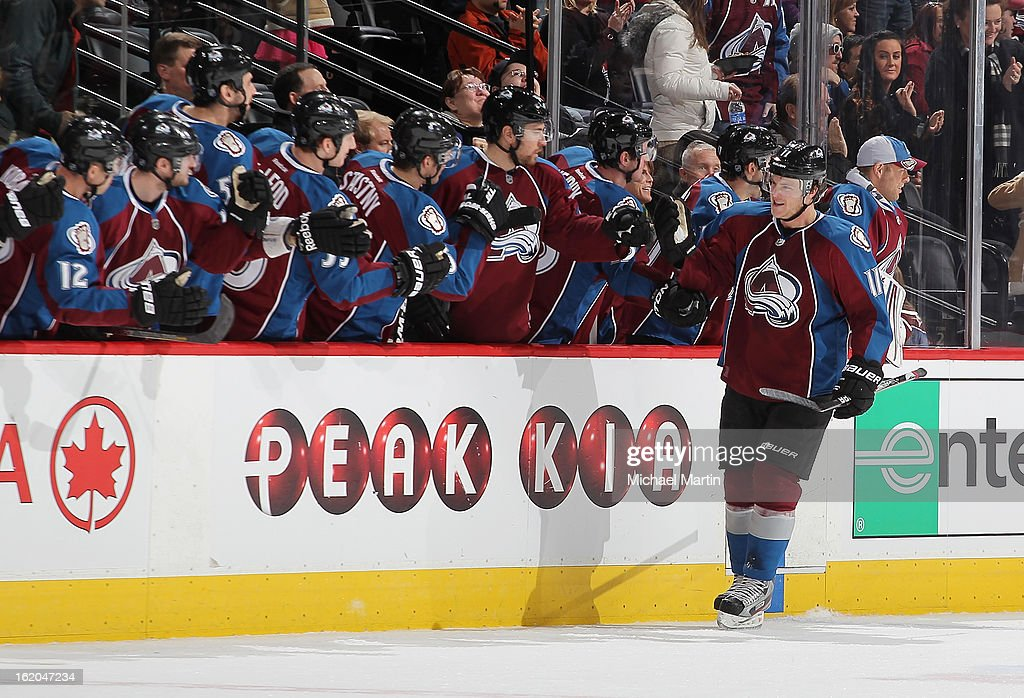 <a gi-track='captionPersonalityLinkClicked' href=/galleries/search?phrase=Jamie+McGinn&family=editorial&specificpeople=537964 ng-click='$event.stopPropagation()'>Jamie McGinn</a> #11 of the Colorado Avalanche celebrates a goal against the Nashville Predators at the Pepsi Center on February 18, 2013 in Denver, Colorado.