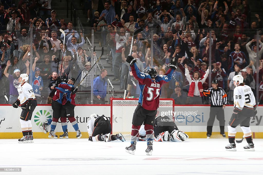 <a gi-track='captionPersonalityLinkClicked' href=/galleries/search?phrase=Jamie+McGinn&family=editorial&specificpeople=537964 ng-click='$event.stopPropagation()'>Jamie McGinn</a> #11 of the Colorado Avalanche celebrates with his shift after he scores in the second period against the Anaheim Ducks at the Pepsi Center on October 2, 2013 in Denver, Colorado.