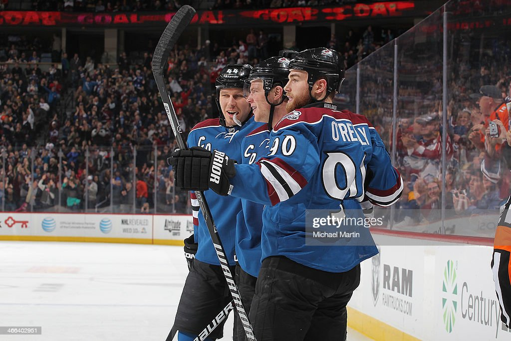 <a gi-track='captionPersonalityLinkClicked' href=/galleries/search?phrase=Jamie+McGinn&family=editorial&specificpeople=537964 ng-click='$event.stopPropagation()'>Jamie McGinn</a> #11 of the Colorado Avalanche is congratulated by teammates <a gi-track='captionPersonalityLinkClicked' href=/galleries/search?phrase=Ryan+O%27Reilly&family=editorial&specificpeople=4754037 ng-click='$event.stopPropagation()'>Ryan O'Reilly</a> #90 and Ryan Wilson #44 after scoring a third-period goal against the Buffalo Sabres at the Pepsi Center on February 1, 2014 in Denver, Colorado. The Avalanche defeated the Sabres 7-1.