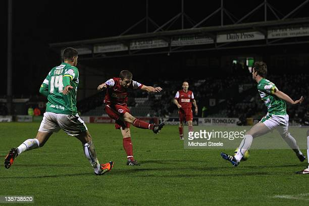 Jamie McGuire of Fleetwood Town scores the opening goal during the FA Cup Second Round Replay match between Yeovil Town and Fleetwood Town at Huish...