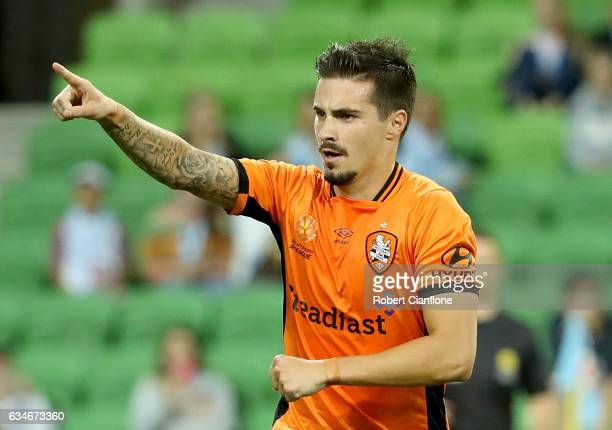 Jamie McLaren of the Roar celebrates after scoring a penalty during the round 19 ALeague match between Melbourne City FC and the Brisbane Roar at...