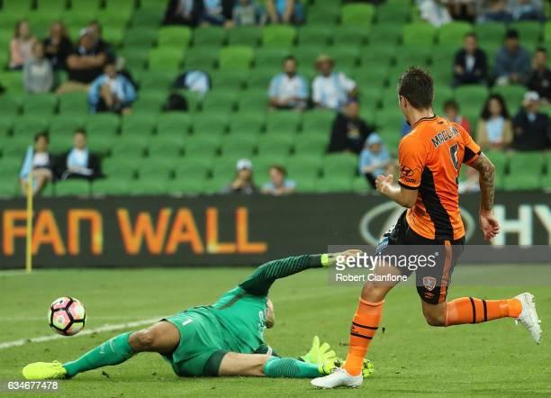 Jamie McLaren of the Roar gets his shot past Melbourne City goalkeeper Thomas Sorensen to score during the round 19 ALeague match between Melbourne...