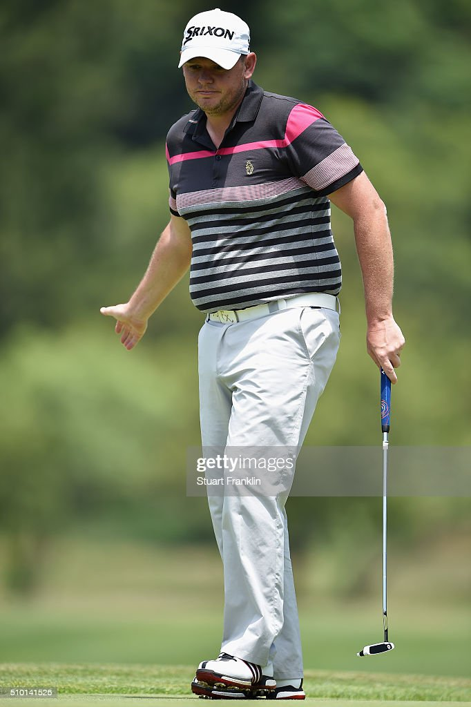 Jamie McLeary of Scotland reacts on the 2nd green during the final round of the Tshwane Open at Pretoria Country Club on February 14, 2016 in Pretoria, South Africa.