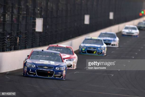 Jamie McMurray Chip Ganassi Racing Chevrolet SS leads a pack of cars down the front stretch during the NASCAR Monster Energy Cup Series Brantley...
