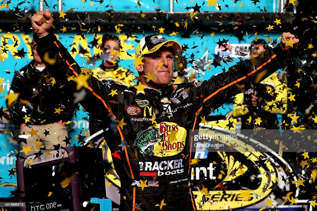 <a gi-track='captionPersonalityLinkClicked' href=/galleries/search?phrase=Jamie+McMurray&family=editorial&specificpeople=198964 ng-click='$event.stopPropagation()'>Jamie McMurray</a>, driver of the #1 Bass Pro Chevrolet, celebrates in victory lane after winning the NASCAR Sprint Cup Series Sprint All-Star Race at Charlotte Motor Speedway on May 17, 2014 in Charlotte, North Carolina.